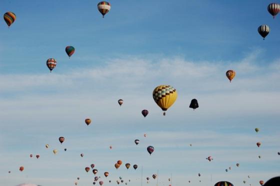 hundreds of balloons fill the sky at Albuquerque Balloon Fiesta