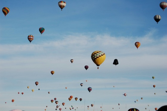 hundreds of balloons fill the sky at Albuquerque Balloon Fiesta