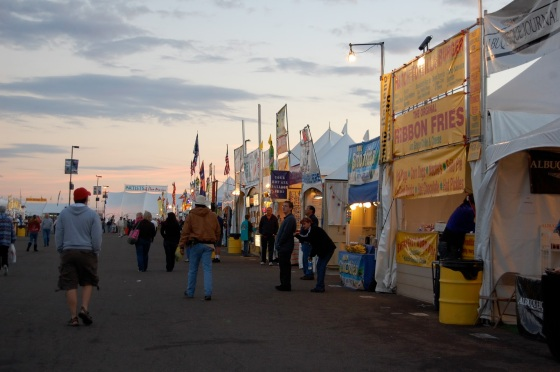 many different vendors at the Fiesta as the sun rises