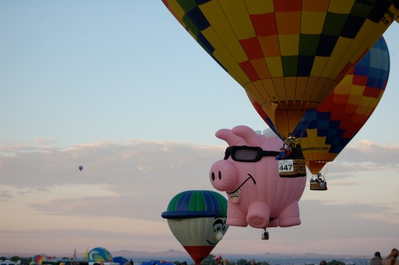 people taking off in their baskets are charmingly close at Balloon Fiesta