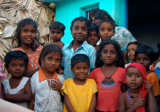 children of the village in South India