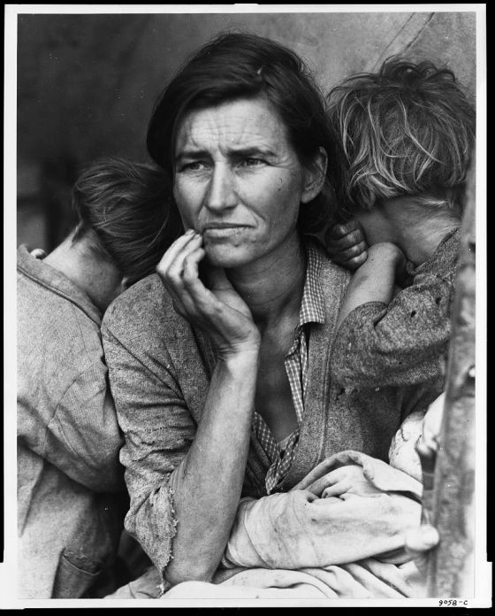 U.S. Farm Security 1936 Feb. or Mar. Destitute pea pickers in California. Mother of seven children. Age thirty-two. Nipomo, California from Library of Congress Photos Administration/Office of War Information Black & White PhotographsDorothea Lange, photographer
