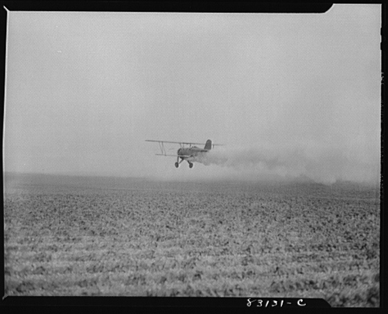 1942 Bridgeton, New Jersey. Seabrook Farm. Dusting with an airplane. Dust or insecticide is spread by low flying planes onto crops to control various insect pestsFarm Security Administration - Office of War Information Photograph Collection (Library of Congress) John Collier, photographer