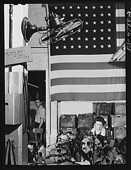 Pesticides were developed to utilize excess nerve gas from WWII  US Flag and Gas Masks 1942 Library of Congress- Chemical Warfare Service