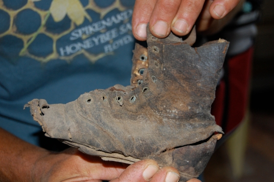 child's boot found in wall of old farm house