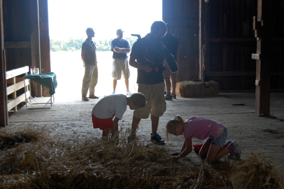filming the children in the barn