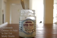 Use an old glass jar to make your coconut polish