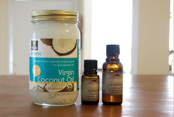 coconut oil, lemon essential oil, and lavender (if you like)