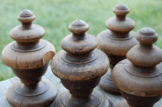 salvaged finials from an old bed, found on etsy
